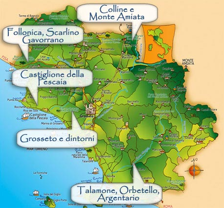 Map of Geographical Areas in Maremma Toscana